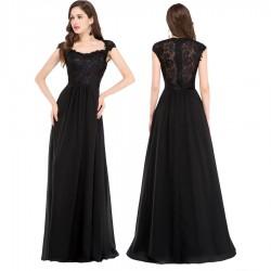 dlouhé černé plesové nebo společenské šaty na ramínka Giselle XL