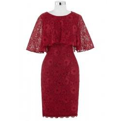 krátké červené vínové společenské šaty pro matku nevěsty Blakely XXL