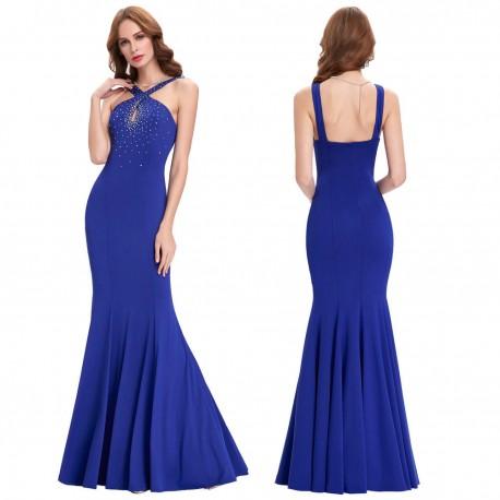 dlouhé upnuté modré společenské šaty Alicia M-L