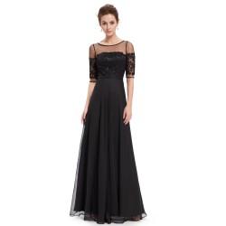 dlouhé černé společesnké šaty pro matku nevěsty s rukávky XL