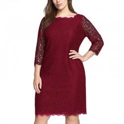 krátké vínové společesnké krajkové šaty pro baculku 4XL-5XL