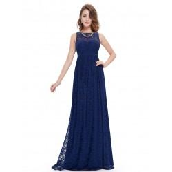 krajkované dlouhé modré plesové společenské šaty Devona L