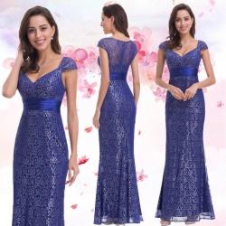luxusní dlouhé tmavě modré plesové šaty pro matku nevěsty XL-XXL