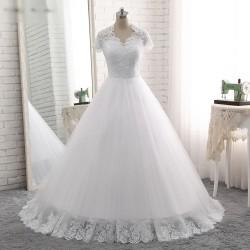 bílé tylové svatební šaty s krajkovým živůtkem a ramínky Luisiana XS