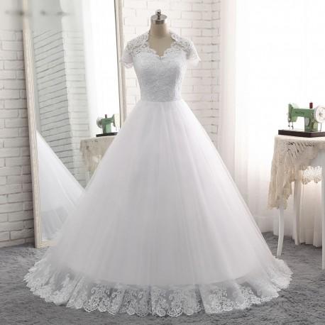 bílé tylové svatební šaty s krajkovým živůtkem a ramínky Luisiana XS ... df8a8a1390