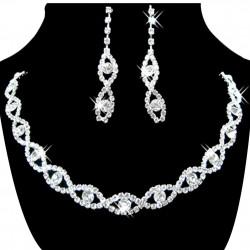 štrasová souprava pro nevěstu - náhrdelník a náušnice