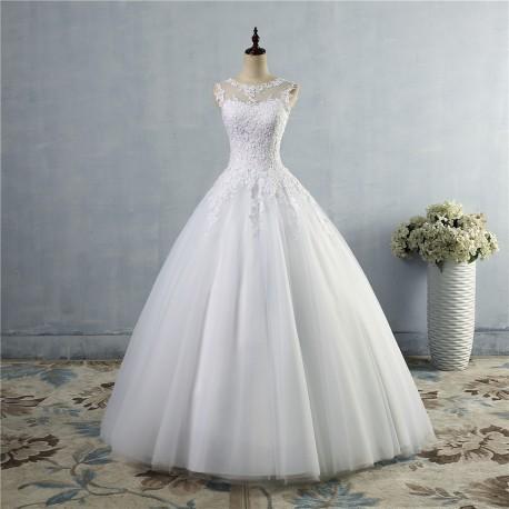 luxusní svatební šaty s bohatou tylovou sukní a krajkovým živůtkem Merista S-M