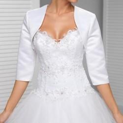 bílé svatební saténové bolerko XXL
