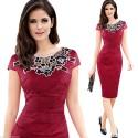 vínové společenské šaty s krajkovým vzorem L, XL, XXL