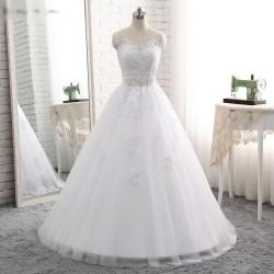 luxusní bílé princeznovské svatební šaty Anna L-XL