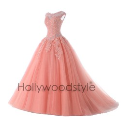 lososové plesové maturitní šaty s bohatou sukní Devona XS-S
