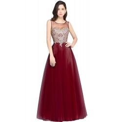 červené vínové plesové nebo společenské šaty Mandy XS