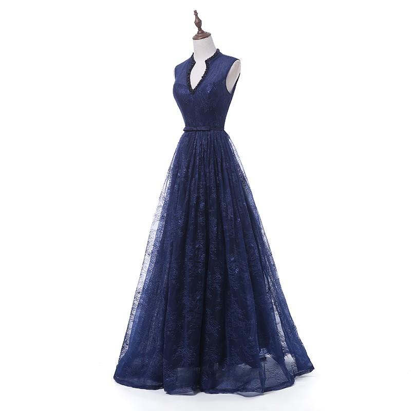 tmavě modré krajkované plesové šaty na maturiní ples Wanda XS-S ... f98821930f
