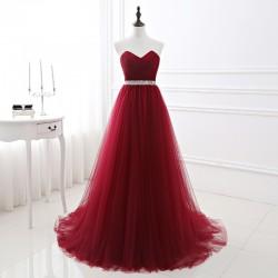 vínové červené plesové společenské šaty tylové Lucia XS-S