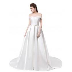 bílé klasické saténové svatební šaty se spadlými ramínky Veronica S-M
