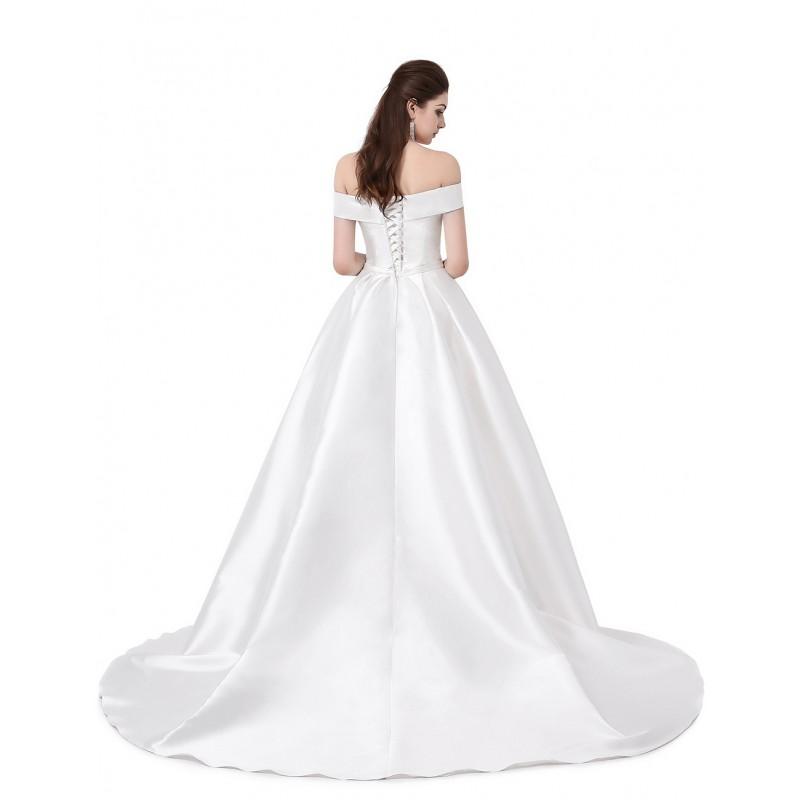 930a1123903 ... bílé klasické saténové svatební šaty se spadlými ramínky Veronica S-M
