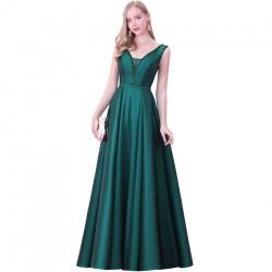 tmavě zelené dlouhé plesové šaty na ramínka Wanda XS-S