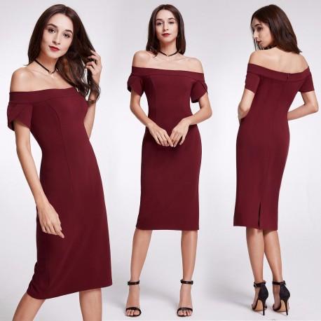krátké vínové společenské šaty se spadlými ramínky M