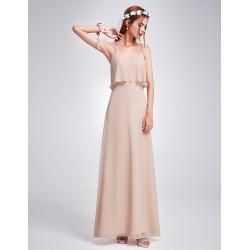 dlouhé béžové krémové společesnké šaty na ramínka Wanda M