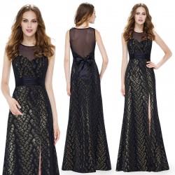 dlouhé černo-zlaté elegantní společenské šaty Lydia L-XL