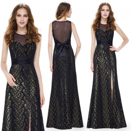 8fff4b25e9f4 Upnuté černé společenské šaty se zlatými odlesky - holá záda