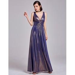 dlouhé modré metalické šaty na ramínka Eva M