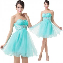 krátké tyrkysové plesové šaty do tanečních Serena XS-S