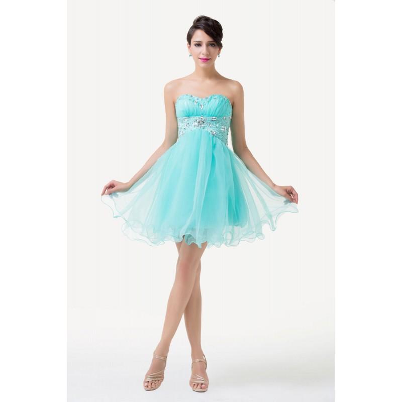 ... krátké tyrkysové plesové šaty do tanečních Serena XS-S 138d4403a20