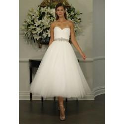 krátké bílé tylové svatební šaty retro Alycia S-M