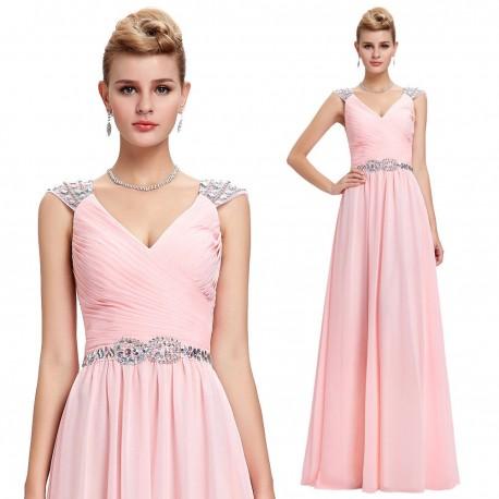 světle růžové dlouhé plesové šaty na ramínka Lota L-XL