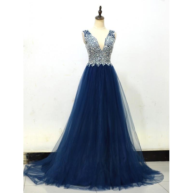 ... tmavě modré tylové plesové šaty na maturitní ples Caroli XS ... 969d1bc6b9