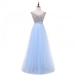 světle modré dlouhé plesové tylové šaty Lenny XS-S