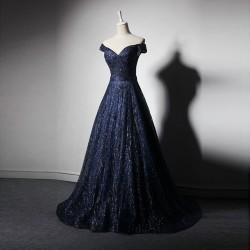 tmavě modré plesové zářivé šaty na maturitní ples Anika L-XL