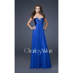 Krásné modré společenské šaty bez ramínek na míru