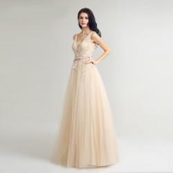 champagne plesové nebo svatební šaty na ramínka Victoria M