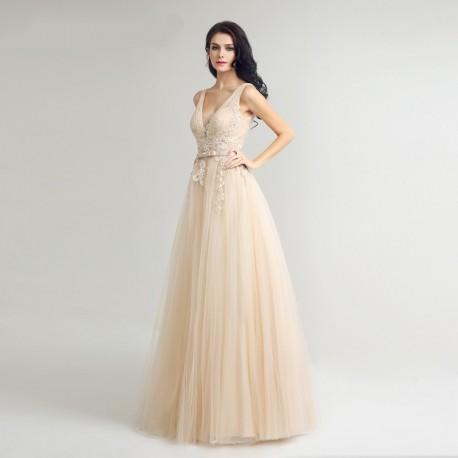 champagne plesové nebo svatební šaty na ramínka Victoria M 765bc513512