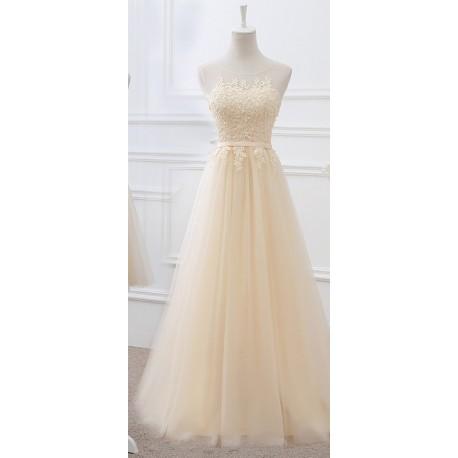 f8b90ca27 dlouhé champagne plesové šaty na maturitní ples Denisa XS-S