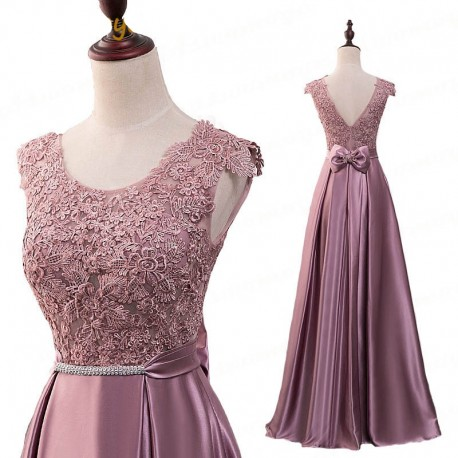růžové dlouhé saténové plesové šaty s krajkou Mona S