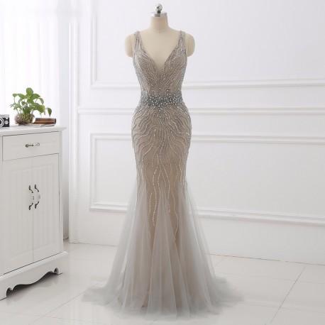 luxusní plesové šedivé šaty na maturitní ples Evita S - model 2018 5884fe9a076