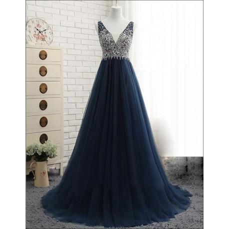 tmavě modré tylové plesové šaty na maturitní ples Caroli XS