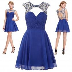 krátké modré plesové šaty do tanečních Hedvika XS