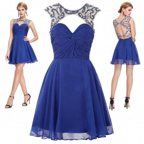 bc181915f krátké modré plesové šaty do tanečních Hedvika XS - Hollywood Style ...
