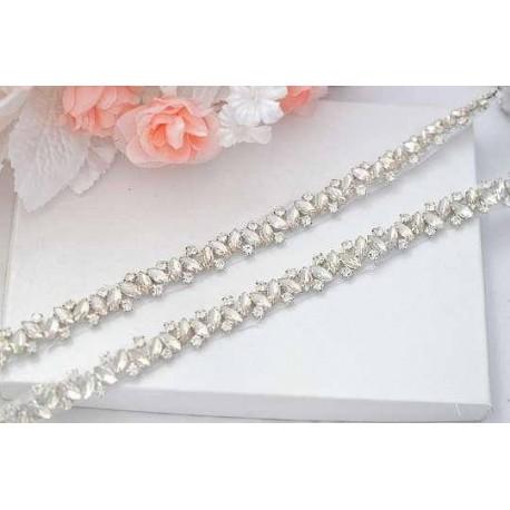 jednoduchý štrasový svatební pásek, štrasová ozdoba na svatební šaty - barva off white