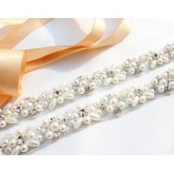 jednoduchý štrasový svatební pásek, štrasová ozdoba na svatební šaty - barva ivory
