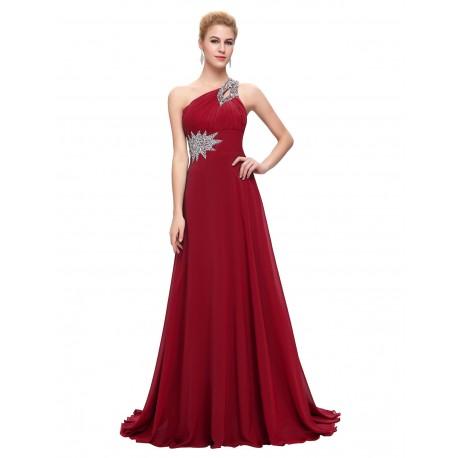 95864e5a67d dlouhé antické společenské plesové vínové šaty na jedno rameno Donna S-M