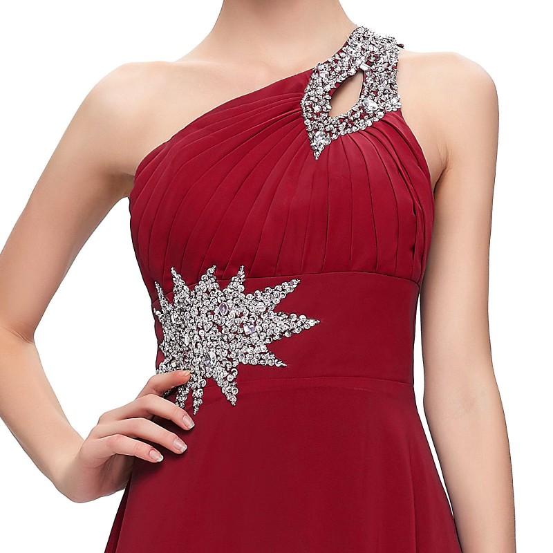 19d9eacf73f ... dlouhé antické společenské plesové vínové šaty na jedno rameno Donna  S-M ...