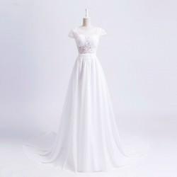 boho svatební šaty krémové s rukávky krajkové Lydia XS