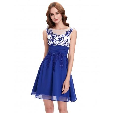8a7ea52dd krátké modré společenské šaty do tanečních Simona XS - Hollywood ...