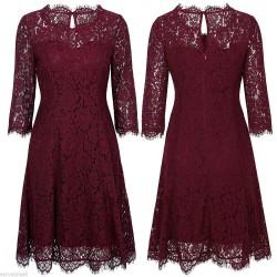 vínové krajkové společenské krátké šaty M-L