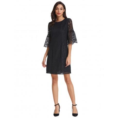 krátké černé krajkované šaty s rukávky XXL